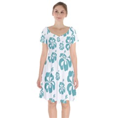 Hibiscus Flowers Green White Hawaiian Blue Short Sleeve Bardot Dress by Mariart