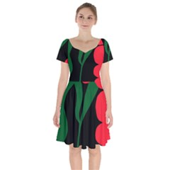 Illustrators Portraits Plants Green Red Polka Dots Short Sleeve Bardot Dress