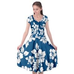 Hibiscus Flowers Seamless Blue White Hawaiian Cap Sleeve Wrap Front Dress