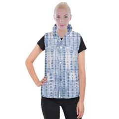 Indigo Grey Tie Dye Kaleidoscope Opaque Color Women s Button Up Puffer Vest by Mariart