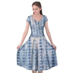 Indigo Grey Tie Dye Kaleidoscope Opaque Color Cap Sleeve Wrap Front Dress