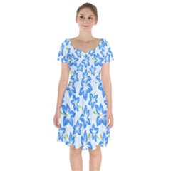 Hibiscus Flowers Seamless Blue Short Sleeve Bardot Dress by Mariart