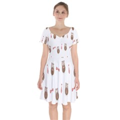 Insulated Owl Tie Bow Scattered Bird Short Sleeve Bardot Dress