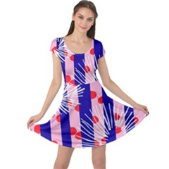 Line Vertical Polka Dots Circle Flower Blue Pink White Cap Sleeve Dresses