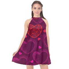 Love Heart Polka Dots Pink Halter Neckline Chiffon Dress