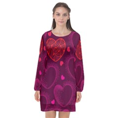 Love Heart Polka Dots Pink Long Sleeve Chiffon Shift Dress