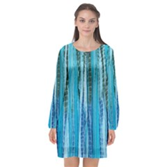 Line Tie Dye Green Kaleidoscope Opaque Color Long Sleeve Chiffon Shift Dress