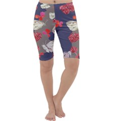 Original Butterfly Carnation Cropped Leggings  by Mariart