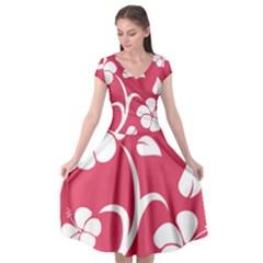 Pink Hawaiian Flower White Cap Sleeve Wrap Front Dress