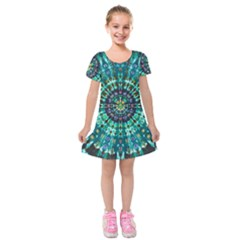 Peacock Throne Flower Green Tie Dye Kaleidoscope Opaque Color Kids  Short Sleeve Velvet Dress by Mariart