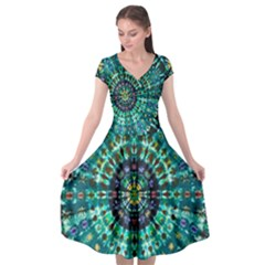 Peacock Throne Flower Green Tie Dye Kaleidoscope Opaque Color Cap Sleeve Wrap Front Dress