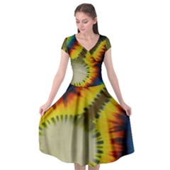 Red Blue Yellow Green Medium Rainbow Tie Dye Kaleidoscope Opaque Color Cap Sleeve Wrap Front Dress by Mariart