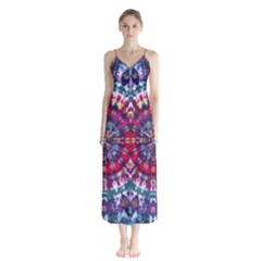 Red Purple Tie Dye Kaleidoscope Opaque Color Button Up Chiffon Maxi Dress by Mariart
