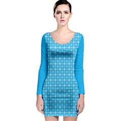Simple Rectangular Pattern Long Sleeve Bodycon Dress by berwies