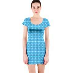 Simple Rectangular Pattern Short Sleeve Bodycon Dress by berwies