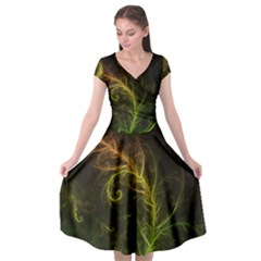 Fractal Hybrid Of Guzmania Tuti Fruitti And Ferns Cap Sleeve Wrap Front Dress by jayaprime