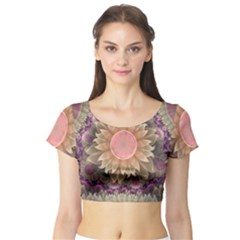 Pastel Pearl Lotus Garden Of Fractal Dahlia Flowers Short Sleeve Crop Top (tight Fit) by jayaprime