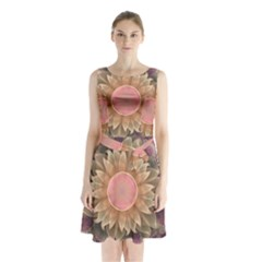 Pastel Pearl Lotus Garden Of Fractal Dahlia Flowers Sleeveless Waist Tie Chiffon Dress by jayaprime