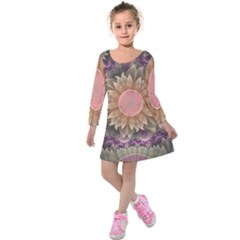 Pastel Pearl Lotus Garden Of Fractal Dahlia Flowers Kids  Long Sleeve Velvet Dress by jayaprime