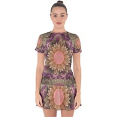 Pastel Pearl Lotus Garden Of Fractal Dahlia Flowers Drop Hem Mini Chiffon Dress by jayaprime