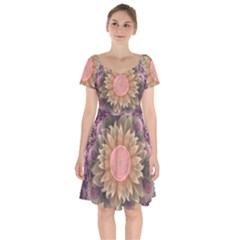 Pastel Pearl Lotus Garden Of Fractal Dahlia Flowers Short Sleeve Bardot Dress by jayaprime