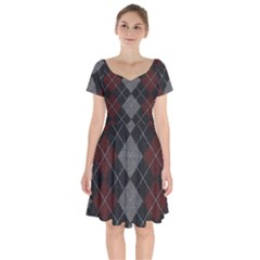 Wool Texture With Great Pattern Short Sleeve Bardot Dress