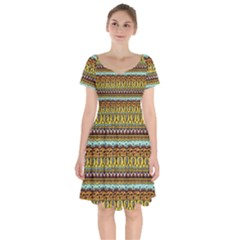 Bohemian Fabric Pattern Short Sleeve Bardot Dress
