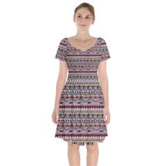 Aztec Pattern Patterns Short Sleeve Bardot Dress by BangZart