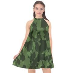 Camouflage Green Army Texture Halter Neckline Chiffon Dress