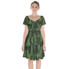 Camouflage Green Army Texture Short Sleeve Bardot Dress by BangZart