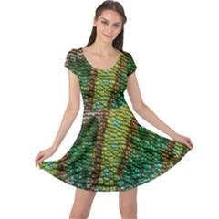 Chameleon Skin Texture Cap Sleeve Dresses