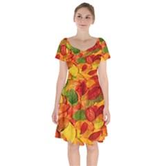 Leaves Texture Short Sleeve Bardot Dress by BangZart
