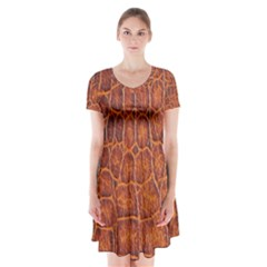 Crocodile Skin Texture Short Sleeve V Neck Flare Dress by BangZart