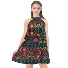 Bohemian Patterns Tribal Halter Neckline Chiffon Dress  by BangZart