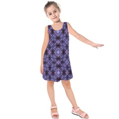 Lavender Moroccan Tilework  Kids  Sleeveless Dress by KirstenStar