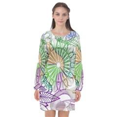 Zentangle Mix 1116c Long Sleeve Chiffon Shift Dress  by MoreColorsinLife