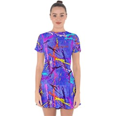 Paint Splashes                          Drop Hem Mini Chiffon Dress by LalyLauraFLM