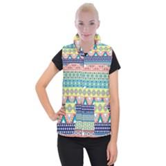 Tribal Print Women s Button Up Puffer Vest by BangZart