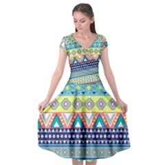 Tribal Print Cap Sleeve Wrap Front Dress