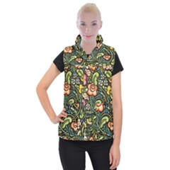 Bohemia Floral Pattern Women s Button Up Puffer Vest by BangZart
