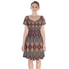 Knitted Pattern Short Sleeve Bardot Dress