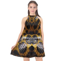 Textures Snake Skin Patterns Halter Neckline Chiffon Dress  by BangZart