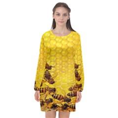Sweden Honey Long Sleeve Chiffon Shift Dress  by BangZart