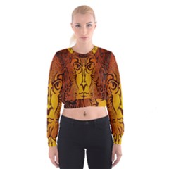 Lion Man Tribal Cropped Sweatshirt by BangZart