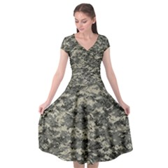 Us Army Digital Camouflage Pattern Cap Sleeve Wrap Front Dress