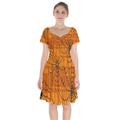 Vector Seamless Pattern With Spider Web On Orange Short Sleeve Bardot Dress by BangZart