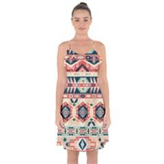 Aztec Pattern Copy Ruffle Detail Chiffon Dress by BangZart