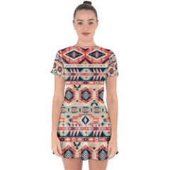 Aztec Pattern Copy Drop Hem Mini Chiffon Dress