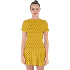 Yellow Dots Pattern Drop Hem Mini Chiffon Dress by BangZart