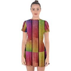 Colourful Wood Painting Drop Hem Mini Chiffon Dress by BangZart
